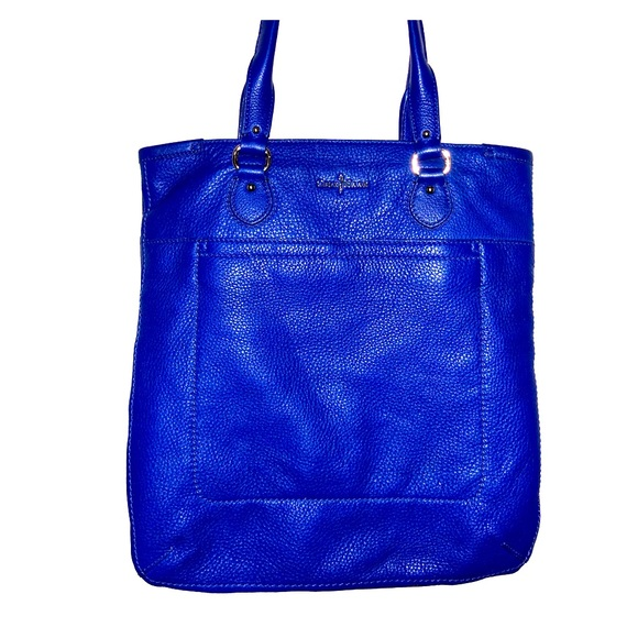 Cole Haan Handbags - Cole Haan Blue Pebbled Leather Market/Tote Bag